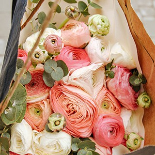 pink, white, and green cut flower bouquet