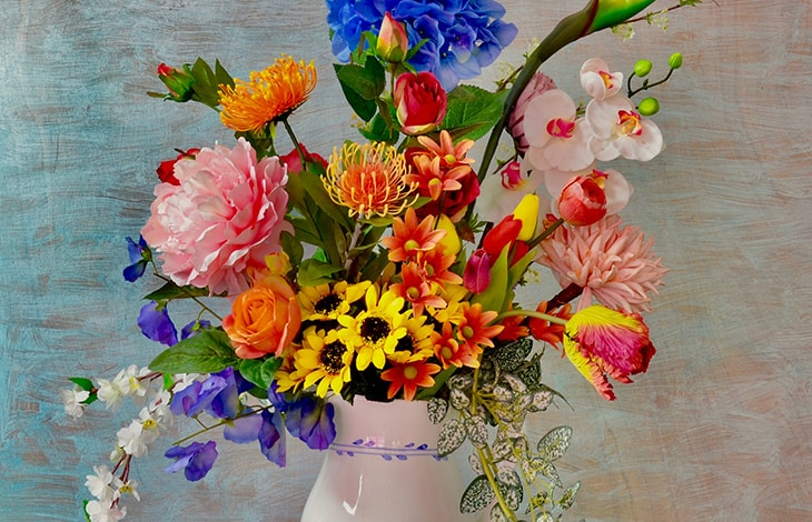 Colorful bouquet in a ceramic vase