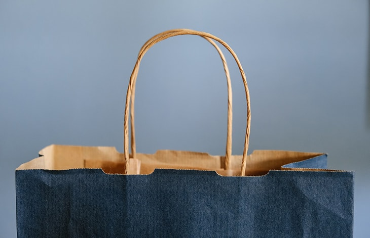 The handles and top of a navy and brown paper bag on a light blue background