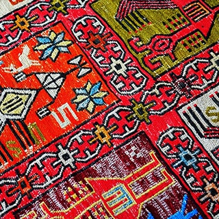 close up of vibrant and colorful area rug