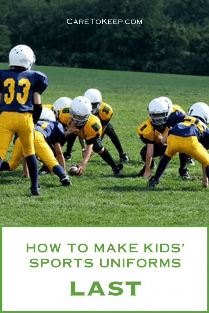 """Photo of a kids football team in blue and yellow uniforms. White text at the top of the image reads: """"CareToKeep.com"""" Below the photo, green text over a white background reads: """"How to make kids' sports uniforms last"""""""
