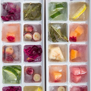 ice trays filled with leftover fruit & veggetable cubes