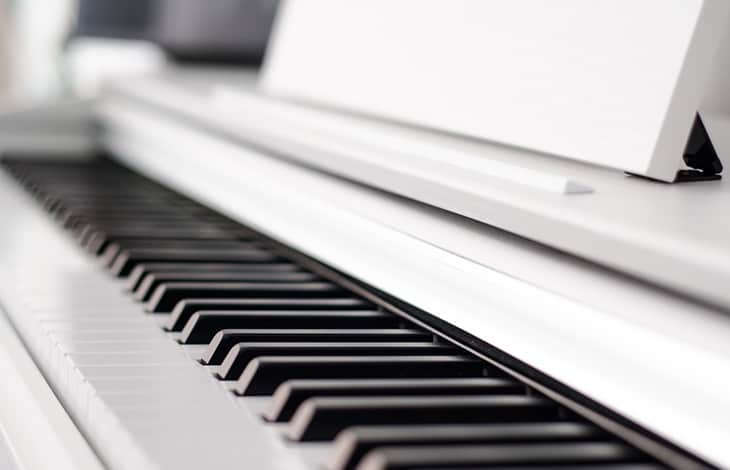 keys on a white piano