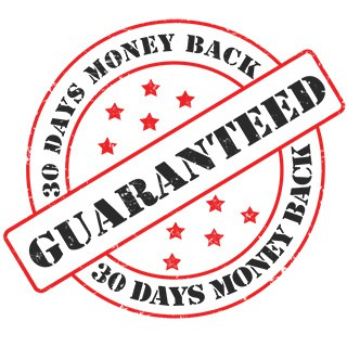 """a red and black product warranty stamp reads """"GUARANTEED: 30 days money back"""""""