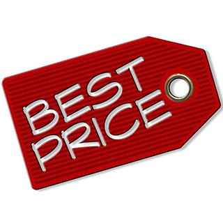 """Red tag that reads """"BEST PRICE"""" in white letters"""