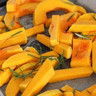 sliced, roasted winter squash
