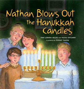 book cover of kids holiday book, Nathan Blows Out the Hanukkah Candles