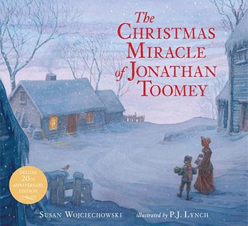 soft blue book cover of The Christmas Miracle of Jonathan Toomey
