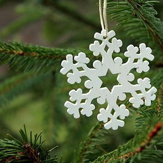a single white snowflake ornament hanging on a White Spruce Christmas tree