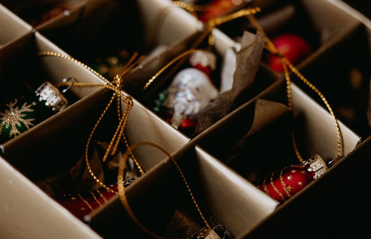 Christmas ornaments stored in compartments