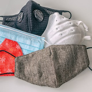 different types of clean face masks in various colors