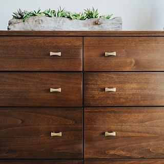 used wooden dresser with gold handles