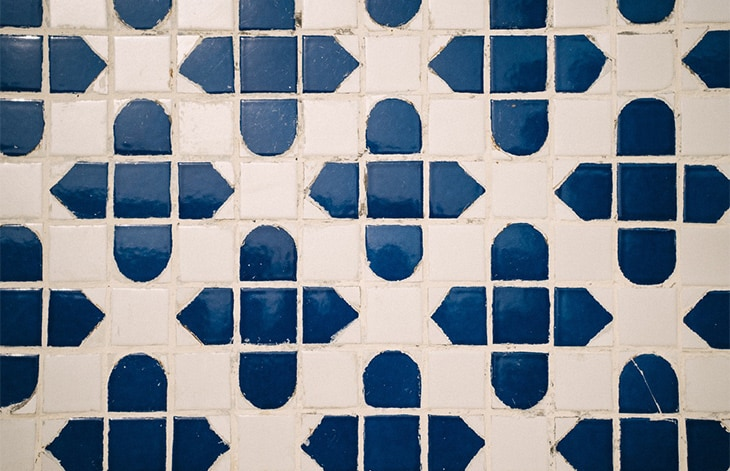 off-white and dark blue tile