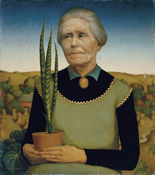 """""""Woman with plants"""" painting by Grant Wood"""