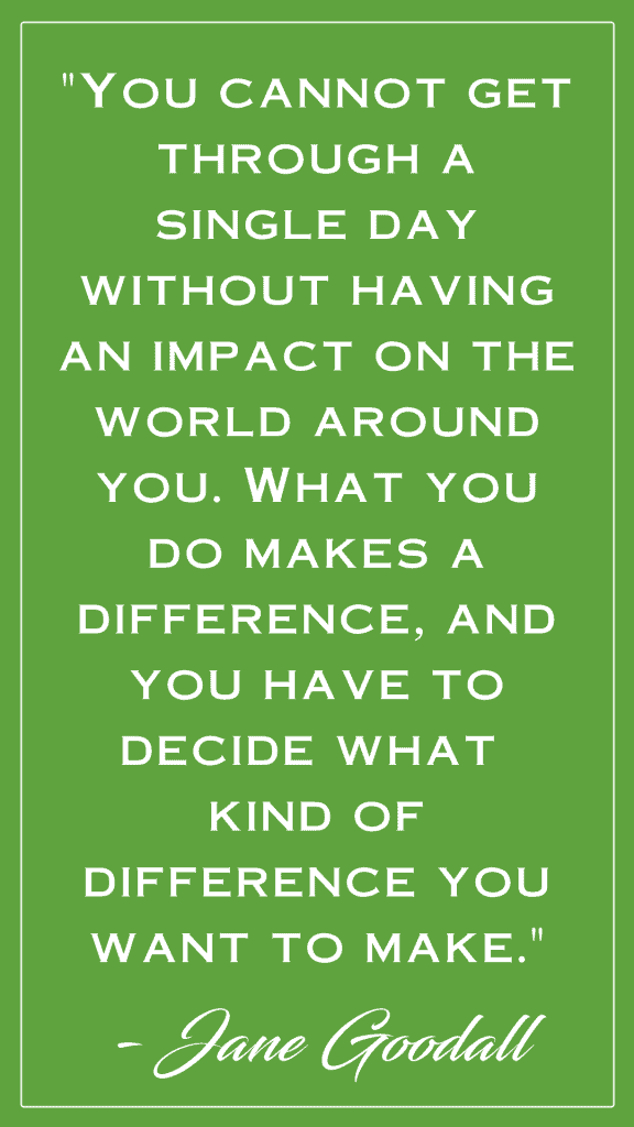 """green box with white text that reads: '""""You cannot get through a single day without having an impact on the world around you. What you do makes a difference, and you have to decide what kind of difference you want to make."""" - Jane Goodall'"""