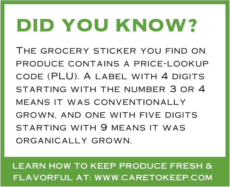 """green and white text box reads: """"The grocery sticker you find on produce contains a price-lookup code (PLU). A label with 4 digits starting with the number 3 or 4 means it was conventionally grown, and one with five digits starting with 9 means it was organically grown."""""""