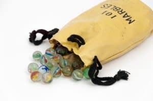 a leather pouch of marbles