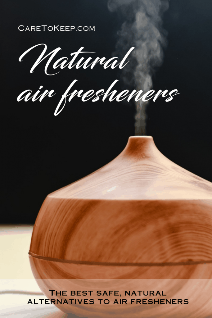 """photo of an electronic essential-oil-diffuser against a black background with white script text that reads: """"Natural air fresheners."""" Black block text at the bottom of the image reads: """"The best safe, natural alternatives to air fresheners"""""""