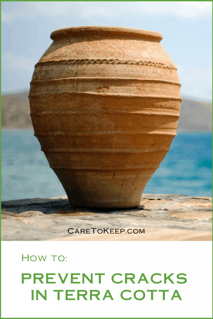 """photo of a rounded planter on a stone in front of water. Below the picture is green text on a white background that reads: """"How to: Prevent cracks in terra cotta"""""""