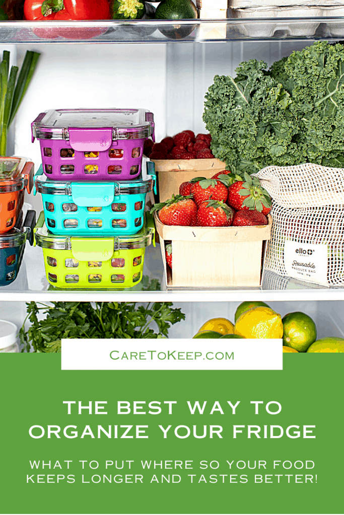 """Photo of a well-organized refrigerator above a green background with white text that reads: """"the best way to organize your fridge - what to put where so your food keeps longer and tastes better!""""; a small white rectangle splits the line between the photograph and green background and contains green text that reads: """"CareToKeep.com"""""""