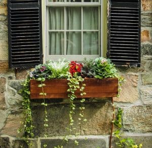 A wooden window box filled with flowers and cascading plants against a window with black shutters on a brick wall