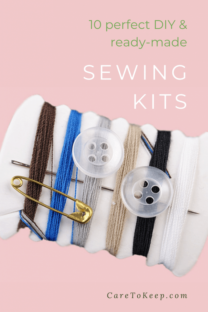 """Various colored thread, clean buttons, a safety pin, and a sewing needle on a small card against a light pink background. Green and white text above and below the sewing kit reads: """"10 perfect DIY & ready-made sewing kits; CareToKeep.com"""""""