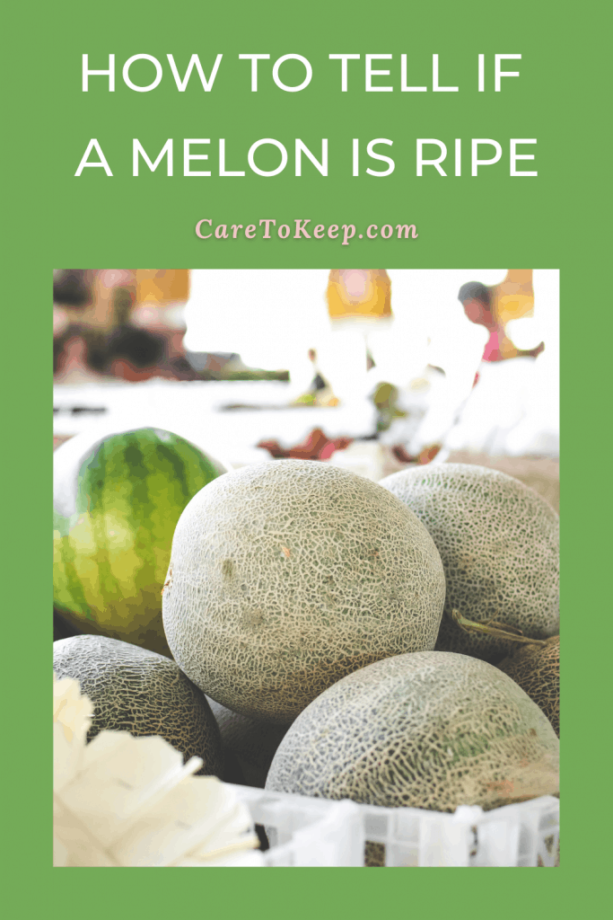 """green background with a photo of whole melons under white and pink writing that reads: """"How to tell if  a melon is ripe; CareToKeep.com"""""""