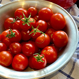 a white ceramic bowl filled with fresh cherry tomatoes
