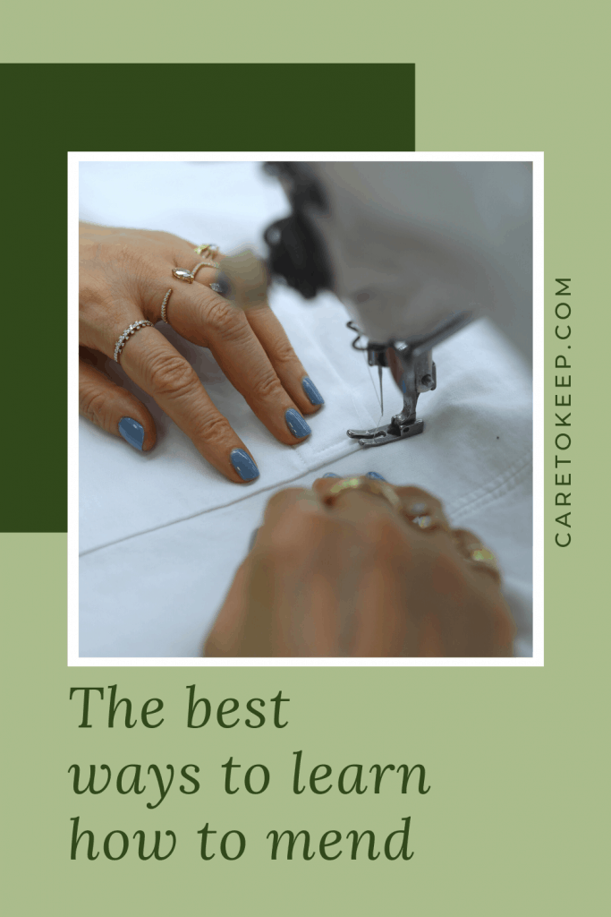 """a square photo of someone sewing white fabric on a sewing machine with a white border in front of a dark green rectangle and light green background. Dark green text beside and below the image reads: """"CareToKeep.com; The ways to learn how to mend"""""""